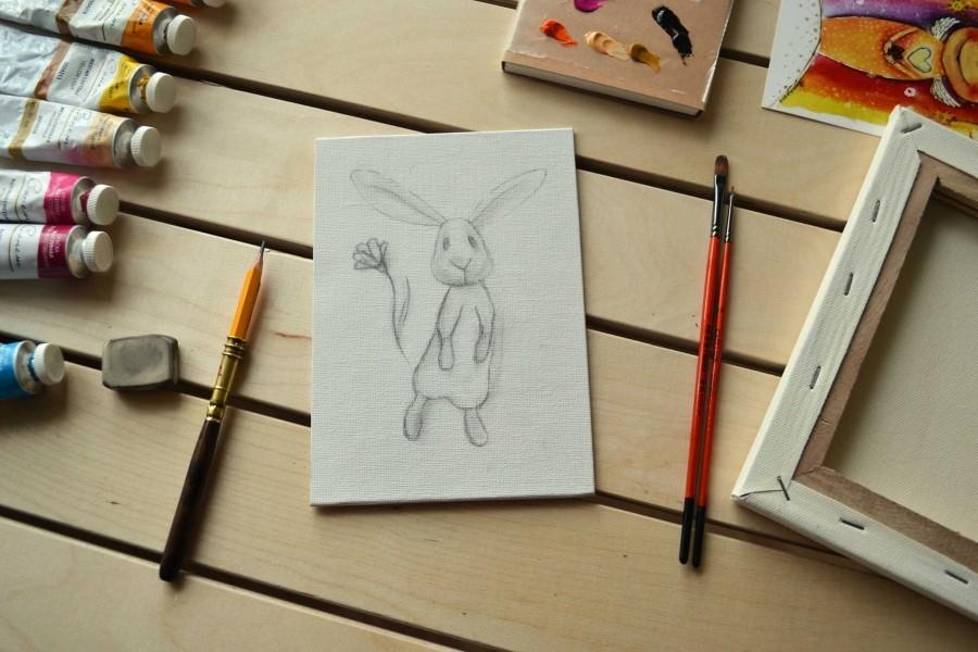 рисунок пасхального зайца, пасха