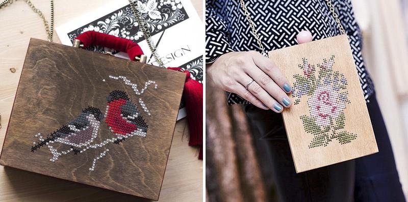 деревянная сумка клатч с вышивкой, тренды 2016