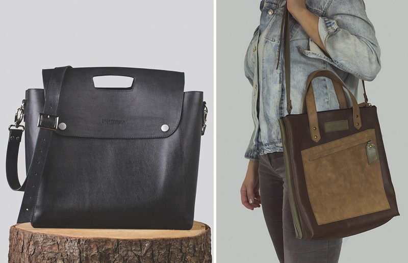 кожаная сумка-шоппер осень 2016