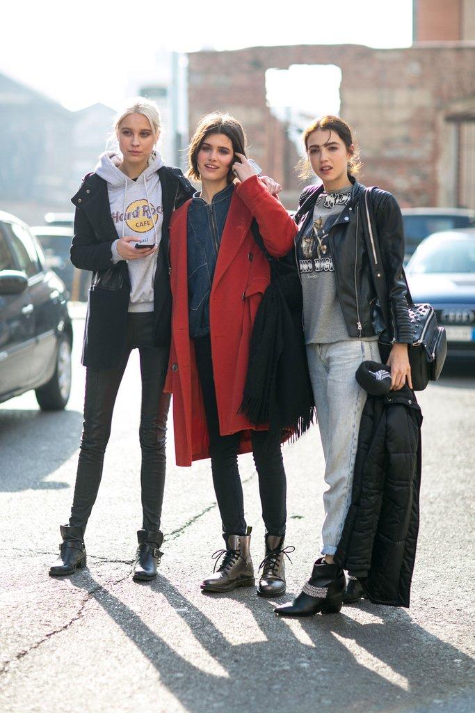 с чем носить ботинки высокие, Milan fashion week 2016 street style