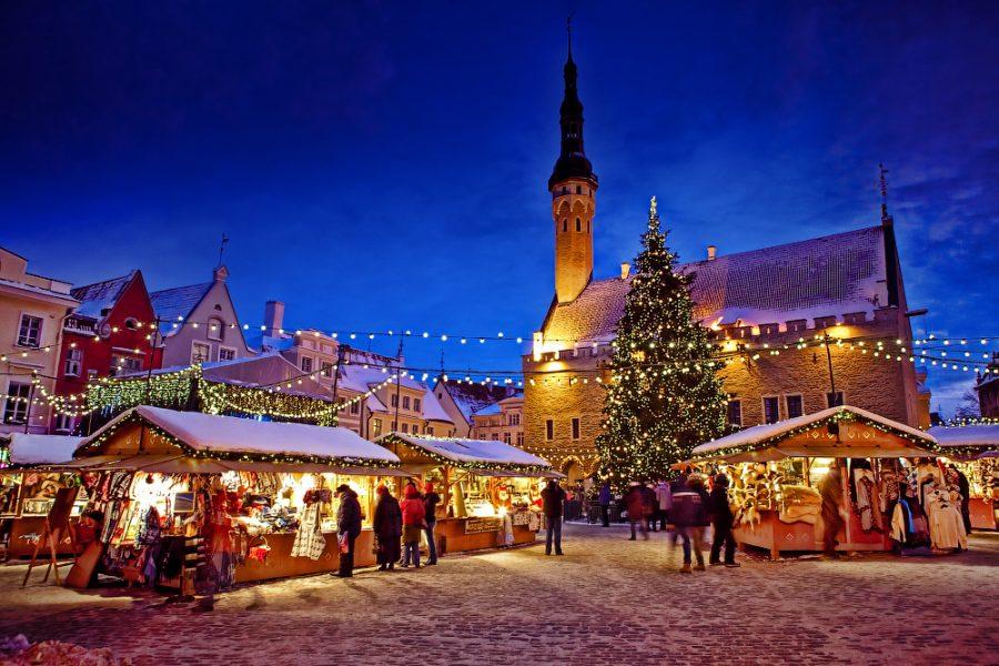 Рождество в Таллине, новогодний вечерний Таллин
