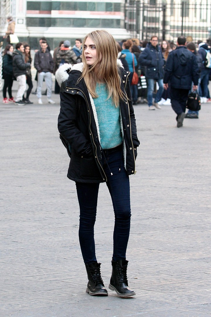 Cara Delevigne - с чем носить ботинки